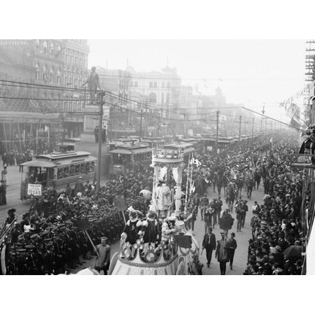 Mardi Gras Procession on Canal St., New Orleans Print Wall (Canal St In New Orleans)