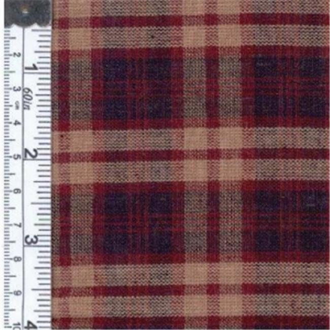 Textile Creations OG-33 Old Glory Fabric, Large Plaid Navy, Wine And Natural, 15 yd.