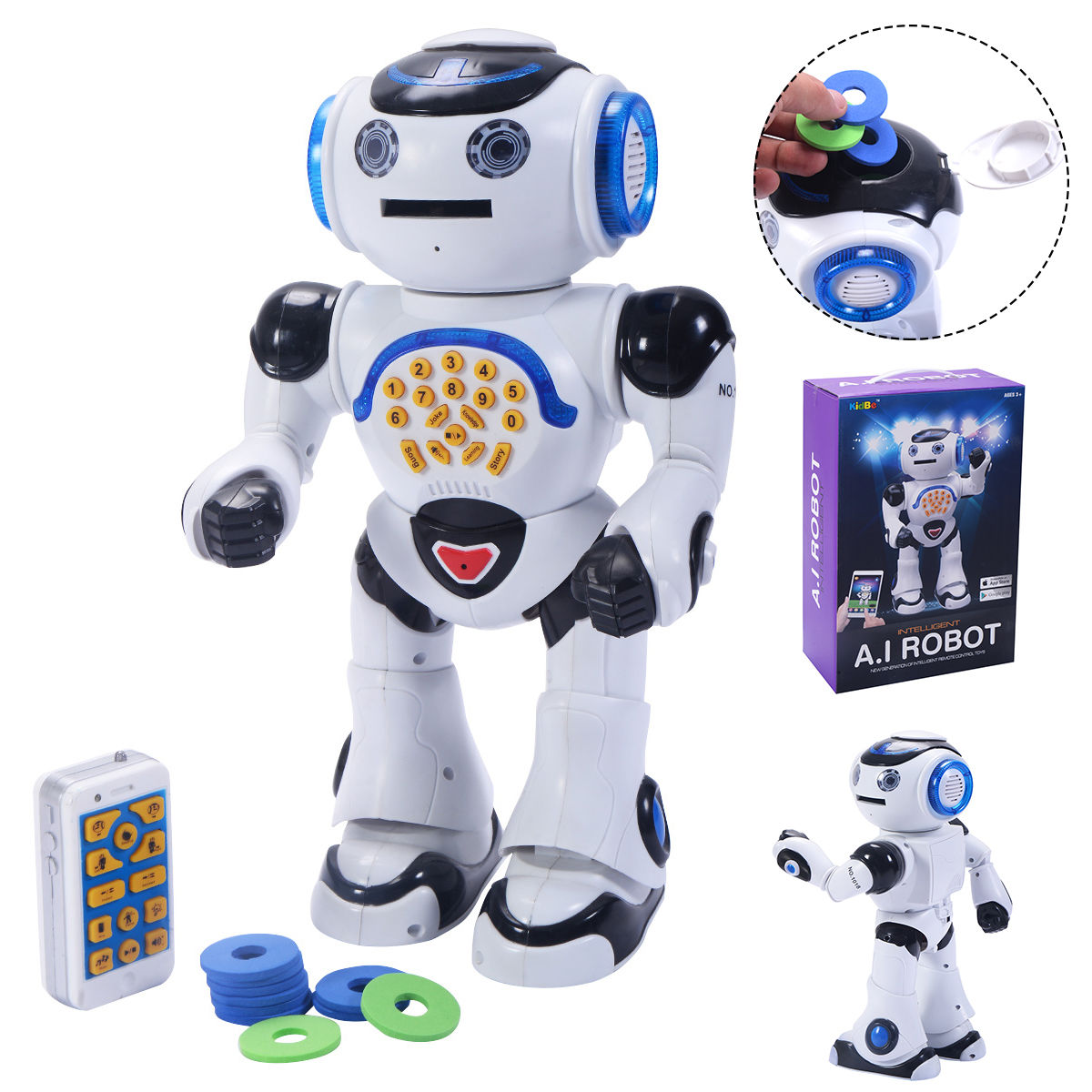 Costway 1018I Infrared RC A.I Robot Intelligent Smart Phone Remote Control Toy Gift by Costway