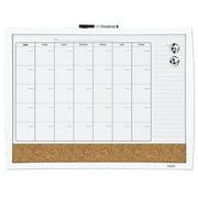 """Quartet 3-In-1 Calendar Board, 17"""" x 23"""", Curved Frame, (38097-WT)"""