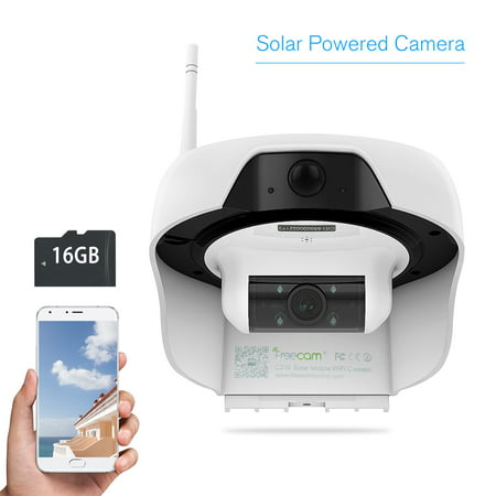 FREECAM Wireless HD 720P Solar Powered WiFi IP Camera Motion-Activated Security Camera ​with PIR Motion Sensor IR Night Vision and