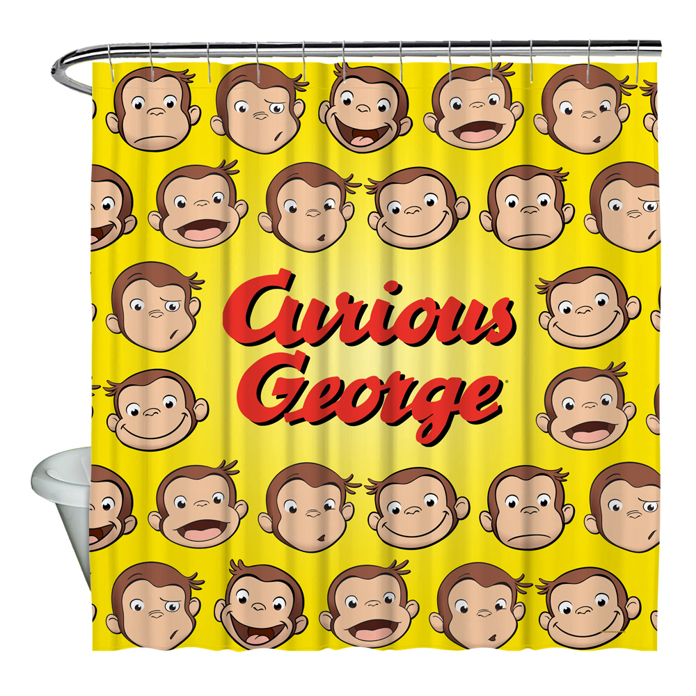 Curious George Heads Shower Curtain White