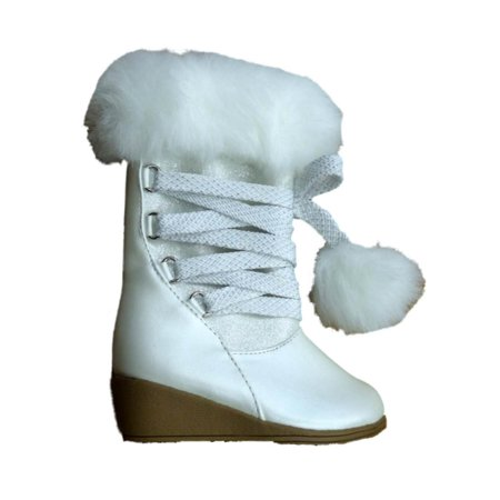 Canyon River Blues Toddler Girls White Fashion Boots with Faux Fur Trim