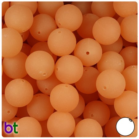 BeadTin Orange Glow Frosted 14mm Round Plastic Beads (36pcs) - Orange Glow