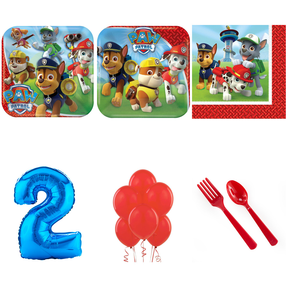 PAW PATROL PARTY SUPPLIES PARTY PACK FOR 32 WITH BLUE #1 BALLOON