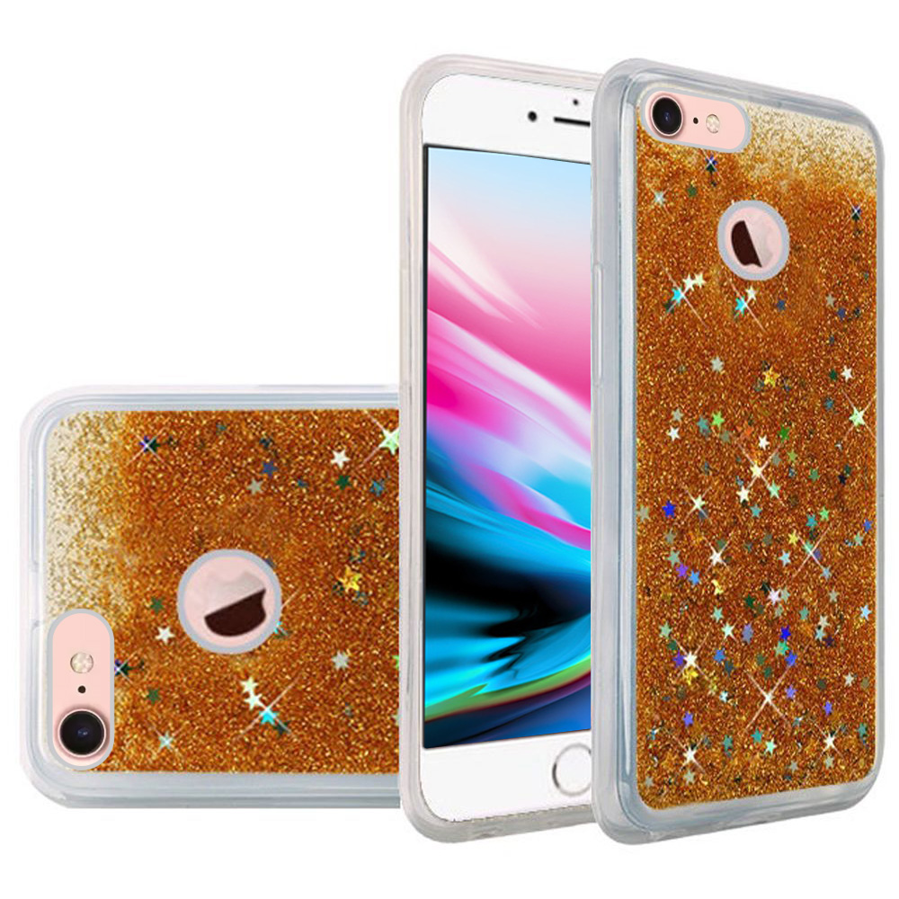 iPhone 8 Case, Premium Liquid Case for iPhone 8, Hybrid Quicksand Fashion Design Flowing Luxury Bling Glitter Sparkle Diamond Clear Soft Flexible TPU Case Bumper for iPhone 8 - Gold