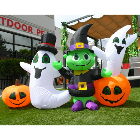 Ghost Noises For Halloween (ALEKO Inflatable Waving Halloween Ghost and Goblin Friends - 4)