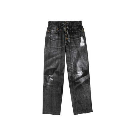 Unisex Adult Black Jeans Cotton Pajama Pants- Black