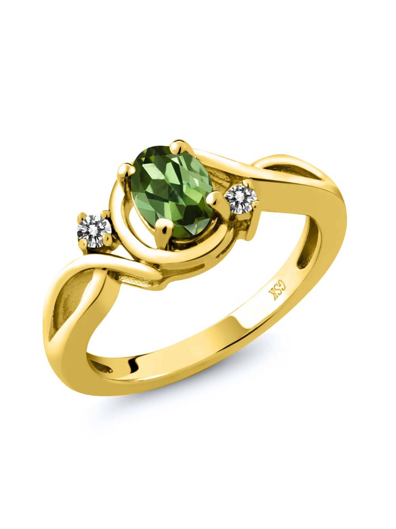 0.77 Ct Oval Green Tourmaline White Diamond 18K Yellow Gold Plated Silver Ring by