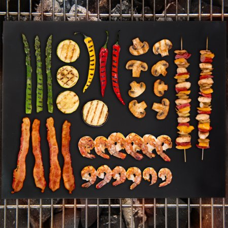 Nonstick BBQ Grill Mat, Set of 2- FDA Approved, Double Sided and Reusable Barbecue Grilling Mats for Gas, Charcoal, Electric Grills by Classic Cuisine ()