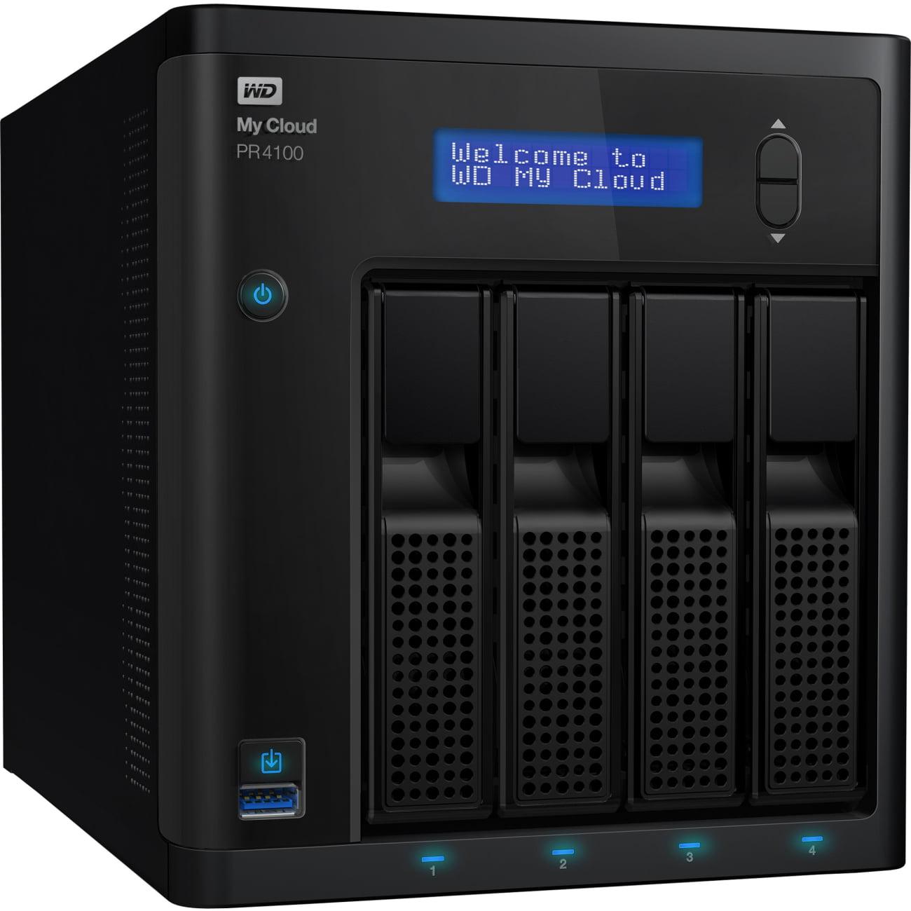 Wd 8tb My Cloud Pr4100 Pro Series Media Server With Transcoding, Nas - Network Attached Storage - Intel Pentium N3710 Quad-core [4 Core] 1.60 Ghz - 4 X Total Bays - 8 Tb Hdd - 4 (wdbnfa0080kbk-nesn)