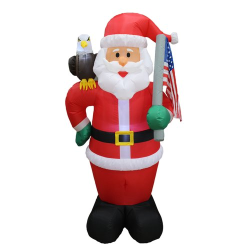 BZB Goods Christmas Inflatable Patriotic Santa Claus with Eagle and American Flag Yard Decoration