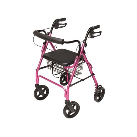 Lumex Walkabout Contour Deluxe Rollator - Pink 4-Wheel Rollator
