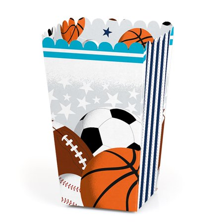 Go, Fight, Win - Sports - Baby Shower or Birthday Party Favor Popcorn Treat Boxes - Set of 12