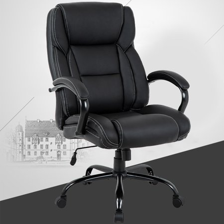 High-Back Big And Tall Office Chair, Ergonomic PU Desk Task Executive Chair Rolling Swivel Chair Adjustable Computer Chair With Lumbar Support Headrest Leather Chair For Women, Men (Black)
