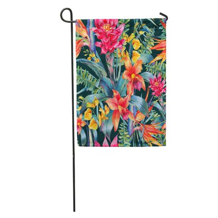LADDKE Watercolor Vintage Floral Tropical Exotic Flowers Bird of Paradise Twigs and Leaves Botanical Bright Garden Flag Decorative Flag House Banner 12x18 inch