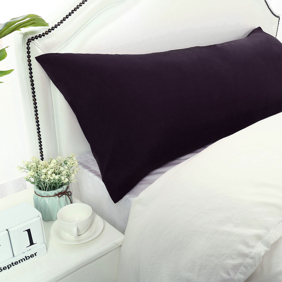 "Body Pillow Cases 1800 Microfiber Soft Bolster Pillow Cover Eggplant 20x72"""