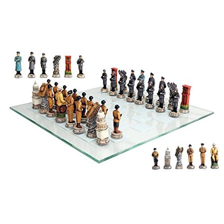 Ebros Gift World War Two Allied United States VS Axis Germany Resin Chess Pieces With Fine Glass Board -