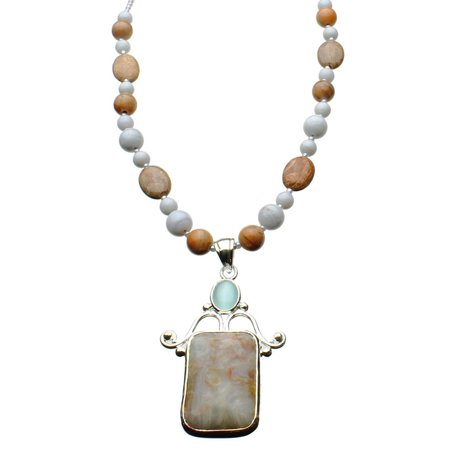 Agate Stone Sterling Silver Pendant Jasper Blue Lace Agate Beads Necklace