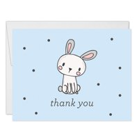 Blue Boys Bunny Rabbit Thank You Cards Blank Folded with Envelopes ( Pack of 25 ) Baby Shower Thanks 1st Birthday Child Children Kids B'day Thank You Notes Excellent Value VT0013B