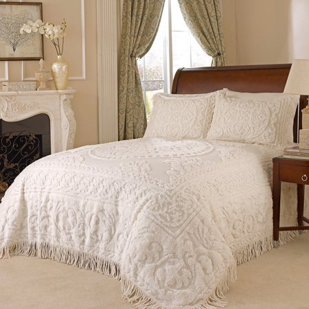 MEDALLION CHENILLE BEDSPREAD TWIN IVORY ()