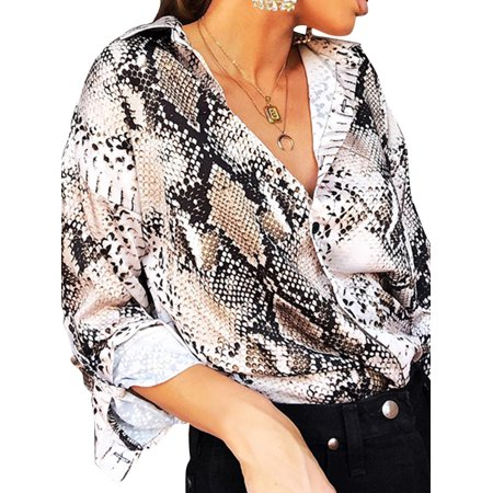 Utowu Sexy Snake Skin Print Blouses Tops Female Shirt Women Button Down Vintage (Women Skins)