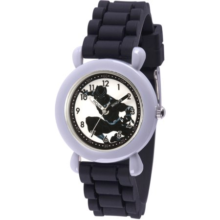 Black Panther & Avengers Boys' Gray Plastic Time Teacher Watch, Black Silicone Strap (Kids Avengers Watch)