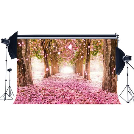 GreenDecor Polyster 7x5ft Photography Backdrop Bokeh Halos Falling Floral Petals Cherry Blossom Flower Backdrops for Kids Children Lover Wedding Party Event Portraits Background Photo Studio -