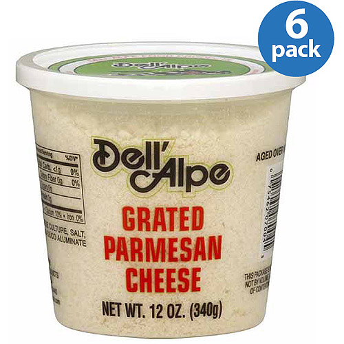 Dell' Alpe Grated Parmesan Cheese, 12 oz, (Pack of 6)