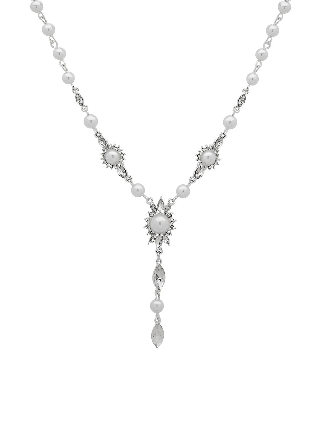 Silvertone and Faux Pearl Y-Necklace