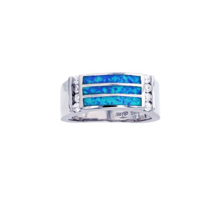 ZilverZoom Sterling Silver Blue Opal 3 Row Ring (Sterling Three Row)