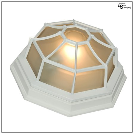 Loadstone Studio Oil Rubbed Finish Octagonal Exterior Outdoor Wall Ceiling Lantern Light with Frosted Glass 9 Inch,WMLS1915 ()