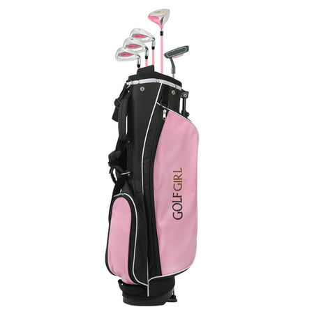 Golf Girl Junior Club V2 Youth Right Hand Set for Kids Ages 8-12 with Pink Stand Bag