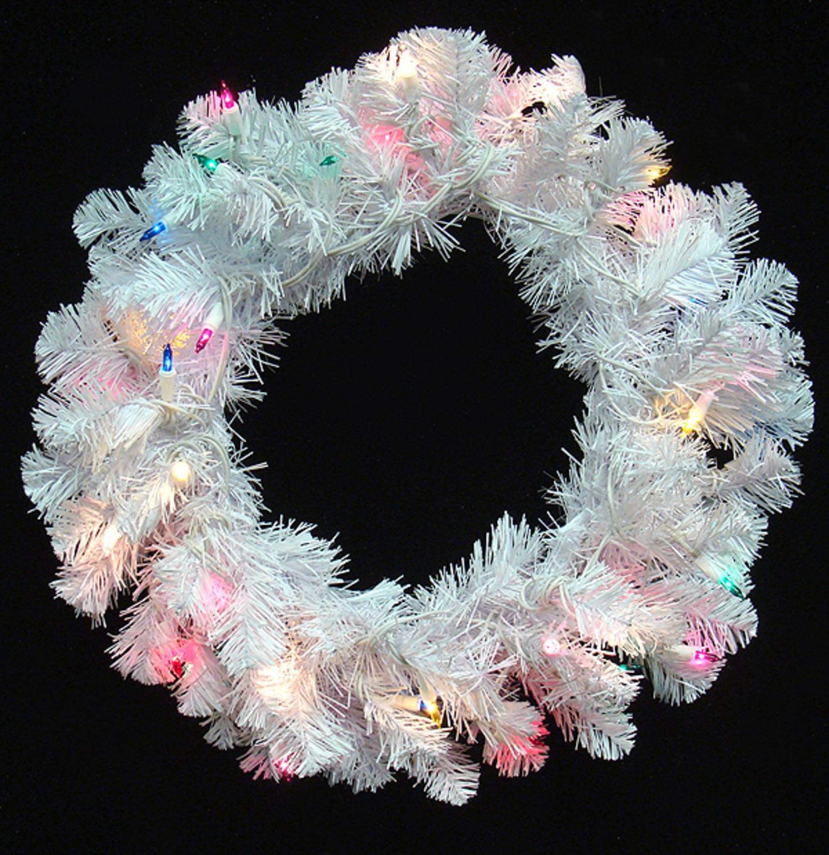 20 Pre Lit Crystal White Artificial Christmas Wreath Multi Dura Lights Walmart Com Walmart Com