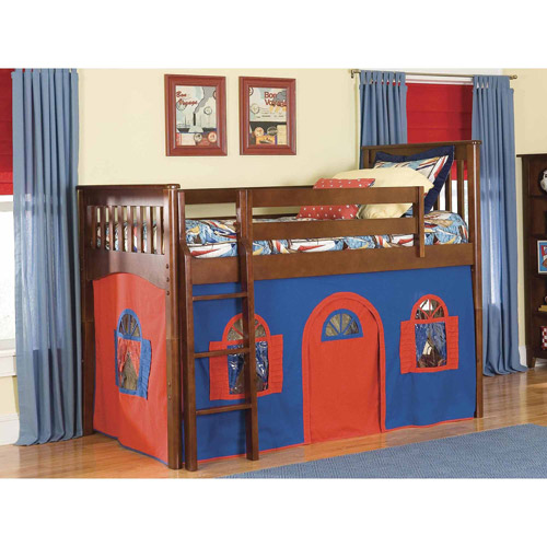 Bolton Furniture Mission Twin Low Loft Bed, Cherry with Blue/Red Bottom Playhouse Curtain