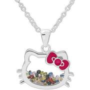 Hello Kitty Fine Silver-Tone Hello Kitty Crystal Shaker Pendant with Chain