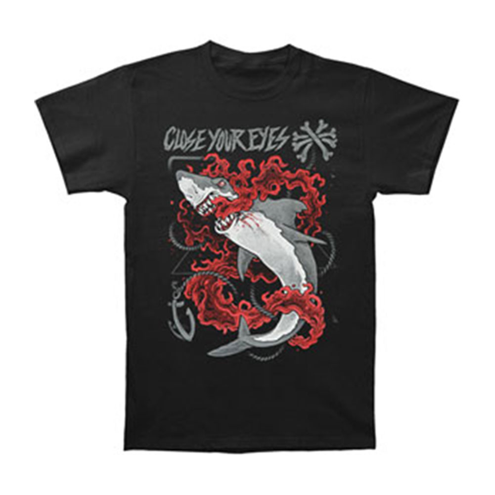 Close Your Eyes Men's  Shark T-shirt Black