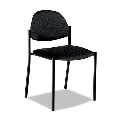 Global 2172BKPB09 Comet Series Armless Stacking Chair, Black Polypropylene Fabric, 3/Carton