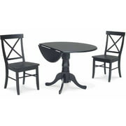"""42"""" Dual Drop Leaf Table with 2 X-Back Chairs"""