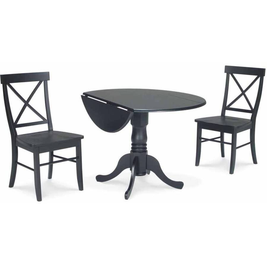 "42"" Dual Drop Leaf Table with 2 X-Back Chairs"