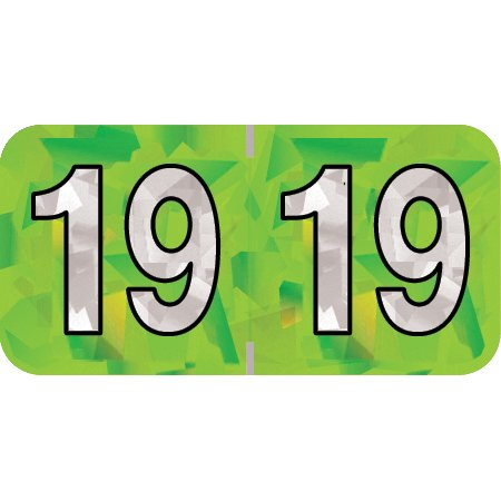 2019 Year Labels, PMA Compatible Series, Holographic Lime Green, 500/Roll, Roll of 500, 3/4