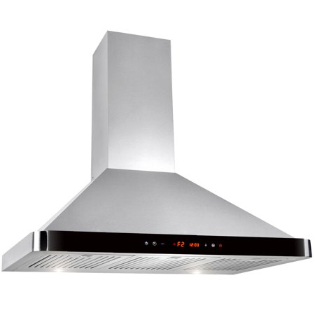 "Image of AKDY 36"" Stainless Steel Kitchen Wall Mount Luxury LED Black Control Panel Range Hood"