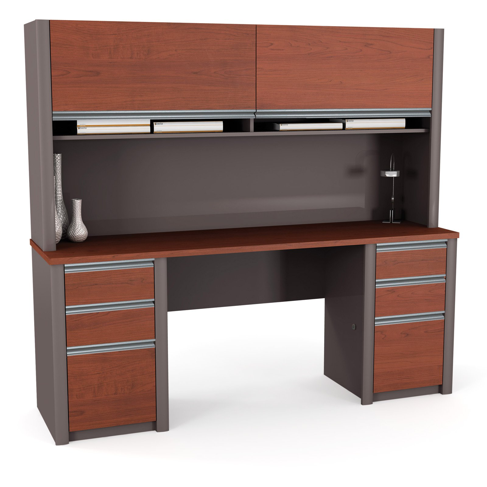 Bestar Connexion Double Pedestal Credenza Computer Desk and Hutch - Bordeaux / Slate