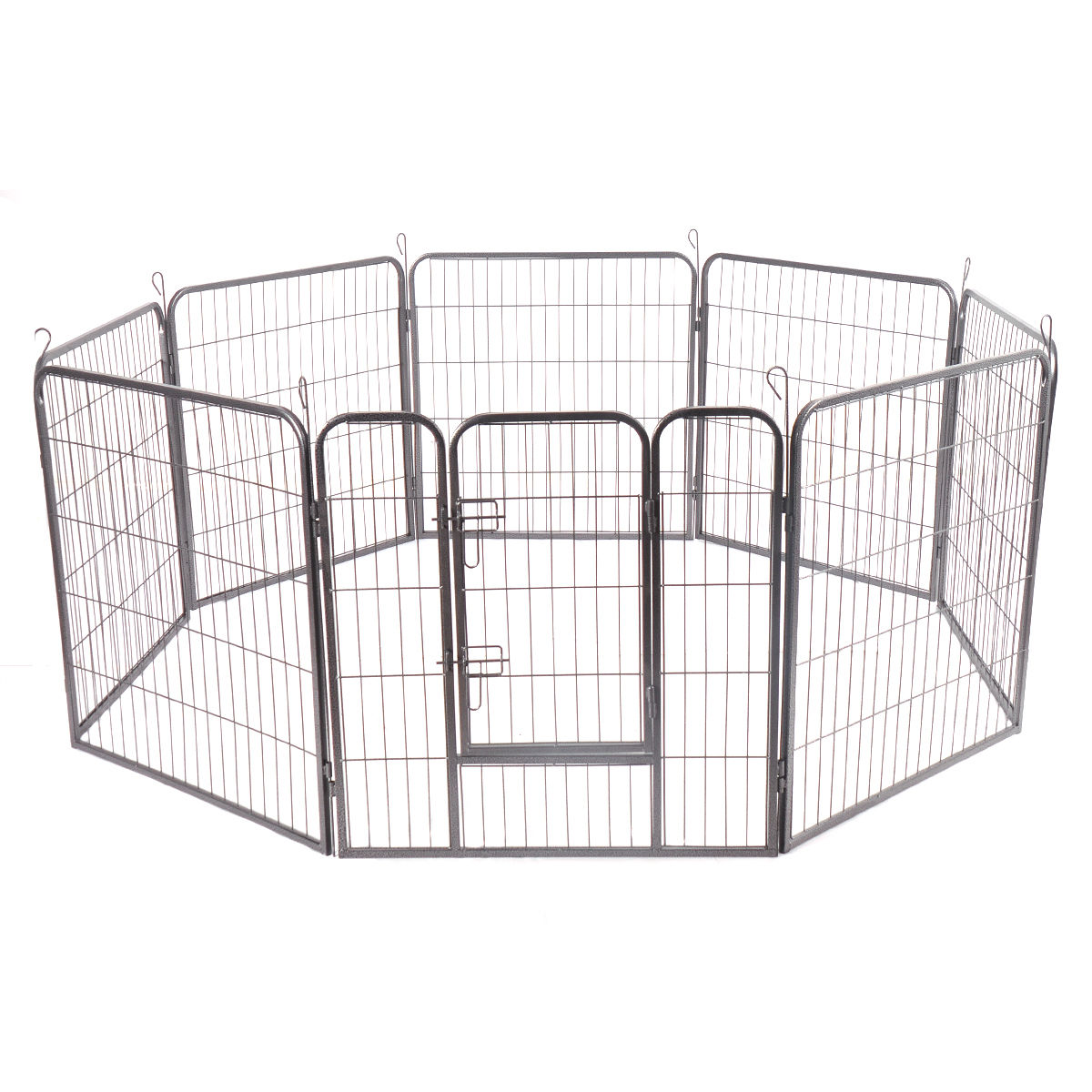 Gymax 32'' 8 Panel Pet Puppy Dog Playpen Door Exercise Kennel Fence Metal