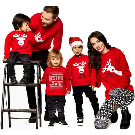 Fymall Christmas Cute Deer Pattern Family Matching Xmas Casual Sweater Pullover Tops, Kid, Mom, Dad ()