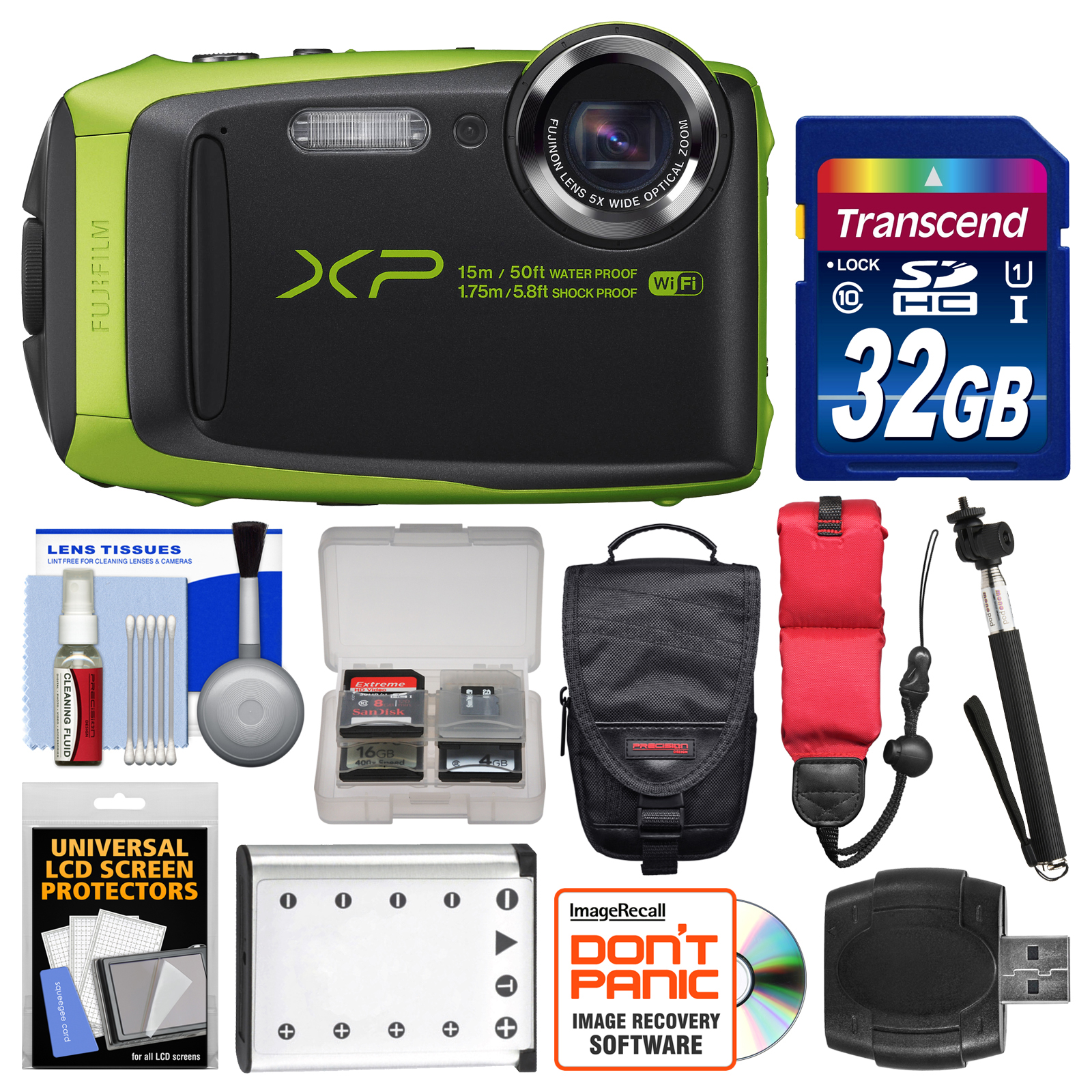 Fujifilm FinePix XP90 Shock & Waterproof Wi-Fi Digital Camera (Black/Lime Green) with 32GB Card + Case + Battery + Selfie Stick + Float Strap + Kit