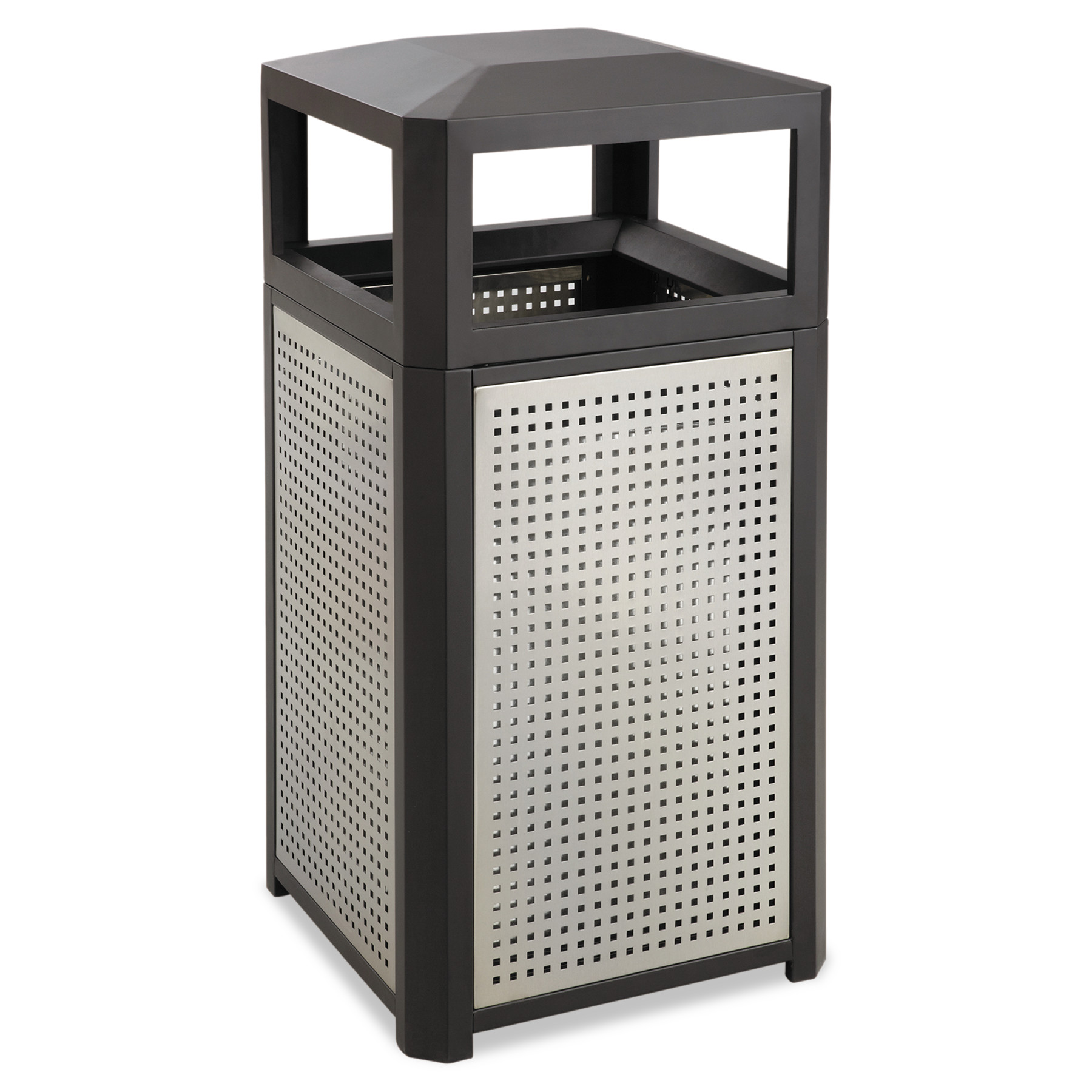 Safco Evos Series Steel Waste Container, 15gal, Black -SAF9932BL