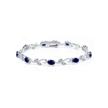 5.08 Ct Oval Blue Sapphire White Diamond 925 Sterling Silver Greek Vine Diamond Bracelet (Cut Blue Sapphire Bracelet)