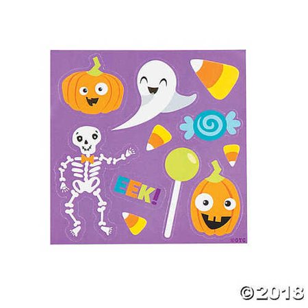 Halloween Themed Sticker Sheets Party Favor - 50 pack - featuring Ghost, Jack O Lantern Pumpkin, Skeleton, Candy Corn and more - Halloween Themed Parties