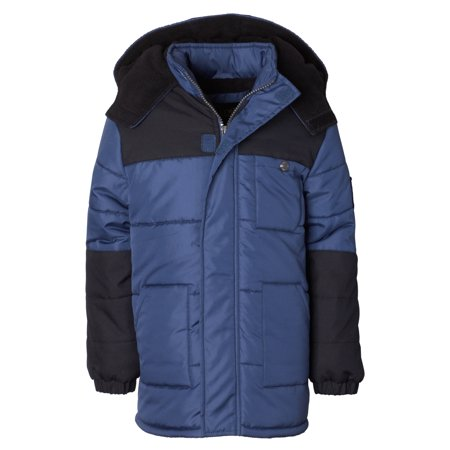 Hooded Arm Patch Puffer Jacket Coat (Baby Boys & Toddler Boys) - Toddler Biker Jacket